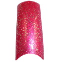 Hot Pink Glitter French Tips Tray 100 Thumbnail